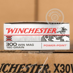 A photograph of 20 rounds of 180 grain 300 Winchester Magnum ammo with a Power-Point (PP) bullet for sale.