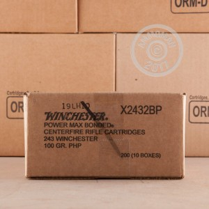 Image of 243 Winchester ammo by Winchester that's ideal for whitetail hunting.