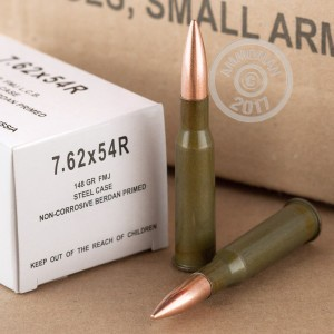Image of 7.62 x 54R ammo by Wolf that's ideal for training at the range.