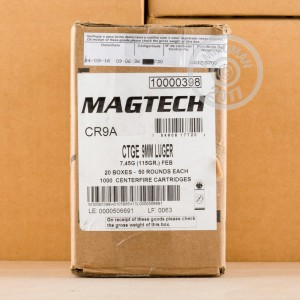 Image of 9mm Luger ammo by Magtech that's ideal for shooting indoors, training at the range.