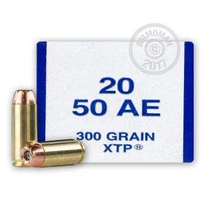 A photograph detailing the 50 Action Express ammo with JHP bullets made by Armscor.