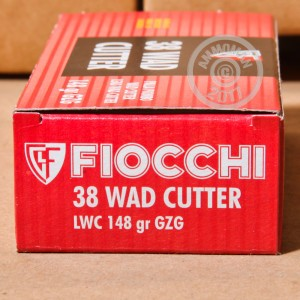 A photograph detailing the 38 Special ammo with Lead Wadcutter bullets made by Fiocchi.