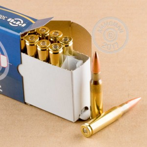 A photograph detailing the 308 / 7.62x51 ammo with Hollow-Point Boat Tail (HP-BT) bullets made by Prvi Partizan.