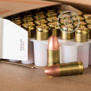 A photograph of 1000 rounds of 115 grain 9mm Luger ammo with a FMJ bullet for sale.