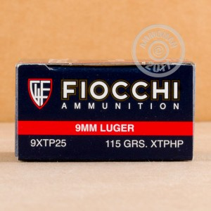 An image of 9mm Luger ammo made by Fiocchi at AmmoMan.com.