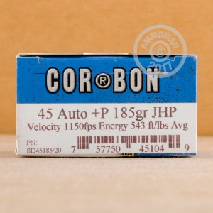 A photo of a box of Corbon ammo in .45 Automatic.