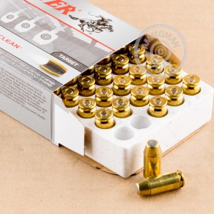 A photograph of 50 rounds of 165 grain .40 Smith & Wesson ammo with a brass enclosed base bullet for sale.