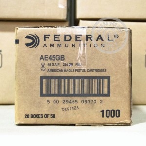 A photograph detailing the .45 GAP ammo with FMJ bullets made by Federal.