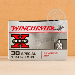 A photograph of 50 rounds of 110 grain 38 Special ammo with a JHP bullet for sale.