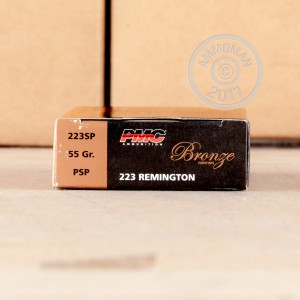 Image of PMC 223 Remington rifle ammunition.