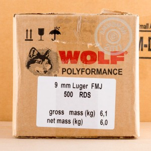 Photo of 9mm Luger FMJ ammo by Wolf for sale at AmmoMan.com.