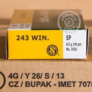 Photo of 243 Winchester soft point ammo by Sellier & Bellot for sale.