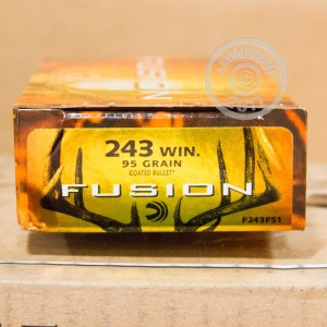 Image of 243 Winchester ammo by Federal that's ideal for whitetail hunting.