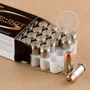 Image of .45 Automatic ammo by Speer that's ideal for home protection.