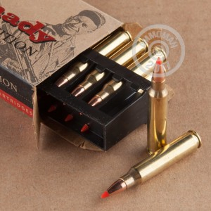Image of 223 Remington ammo by Hornady that's ideal for hunting varmint sized game, training at the range.