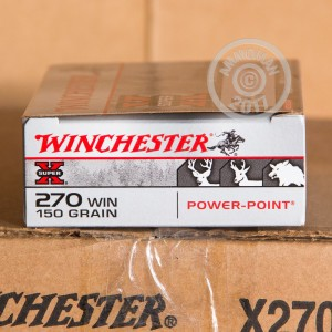 Image of 270 Winchester ammo by Winchester that's ideal for hunting wild pigs, whitetail hunting.