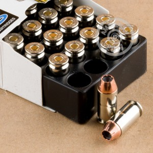 A photo of a box of Corbon ammo in .40 Smith & Wesson.