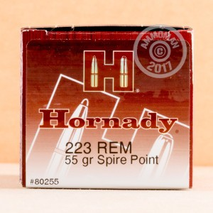 Image of 223 Remington ammo by Hornady that's ideal for home protection, hunting varmint sized game, hunting wild pigs, training at the range.