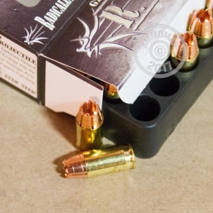 A photograph detailing the .380 Auto ammo with Pre-Fragmented bullets made by G2 Research.