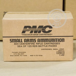 A photo of a box of PMC ammo in 5.56x45mm.