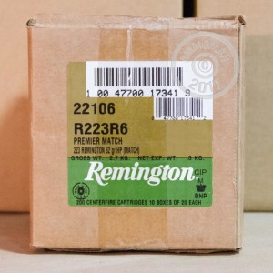 A photograph detailing the 223 Remington ammo with HP bullets made by Remington.