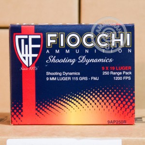 Image of 9mm Luger ammo by Fiocchi that's ideal for training at the range.
