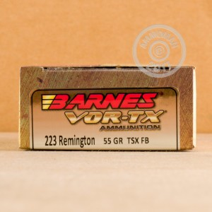 A photo of a box of Barnes ammo in 223 Remington.