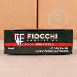 Image of Fiocchi 30.06 Springfield rifle ammunition.