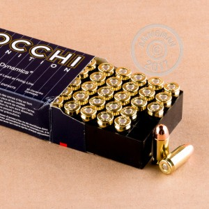 A photograph detailing the .45 Automatic ammo with TMJ bullets made by Fiocchi.