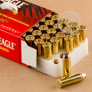 A photograph of 50 rounds of 240 grain 44 Remington Magnum ammo with a JHP bullet for sale.
