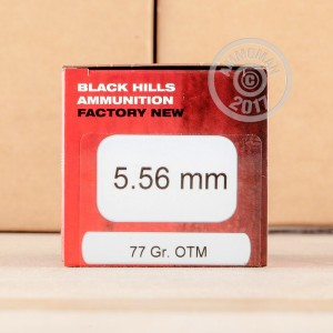 An image of 5.56x45mm ammo made by Black Hills Ammunition at AmmoMan.com.