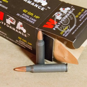Image of 223 Remington ammo by Wolf that's ideal for home protection, hunting varmint sized game, training at the range.