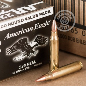 A photograph detailing the 223 Remington ammo with FMJ bullets made by Federal.