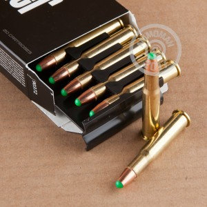 Image of 30-30 Winchester ammo by Nosler Ammunition that's ideal for big game hunting, hunting wild pigs, whitetail hunting.