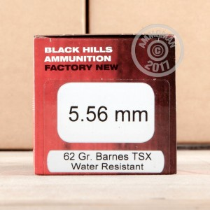 Image of Black Hills Ammunition 5.56x45mm rifle ammunition.