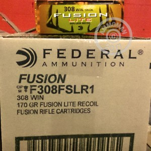 A photograph of 20 rounds of 170 grain 308 / 7.62x51 ammo with a Fusion bullet for sale.