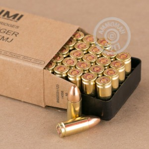 Image of 9mm Luger ammo by Israeli Military Industries that's ideal for training at the range.