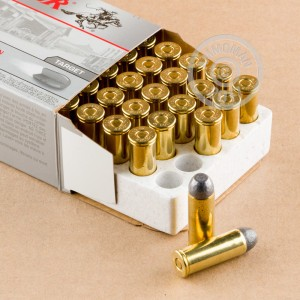 A photograph of 500 rounds of 250 grain .45 COLT ammo with a Lead Flat Nose bullet for sale.