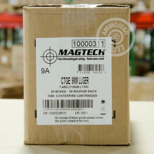 Photo of 9mm Luger FMJ ammo by Magtech for sale at AmmoMan.com.