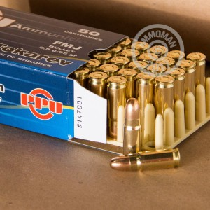A photograph of 50 rounds of 85 grain 7.62 x 25 ammo with a FMJ bullet for sale.