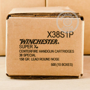 A photograph detailing the 38 Special ammo with Lead Round Nose (LRN) bullets made by Winchester.