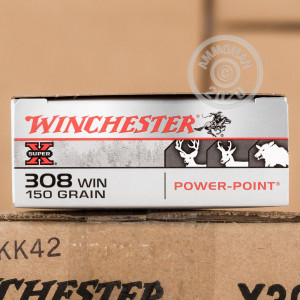 A photograph of 20 rounds of 150 grain 308 / 7.62x51 ammo with a Power-Point (PP) bullet for sale.