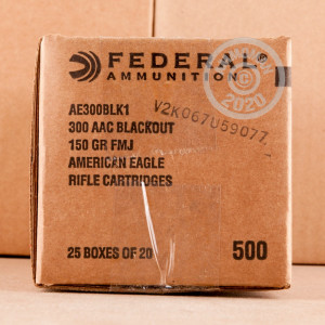 Photo detailing the 300 AAC BLACKOUT FEDERAL AMERICAN EAGLE 150 GRAIN FMJ (500 ROUNDS) for sale at AmmoMan.com.