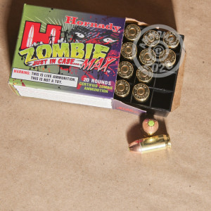 A photograph of 20 rounds of 185 grain .45 Automatic ammo with a JHP bullet for sale.