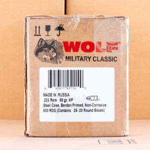 Photograph showing detail of 223 REMINGTON WOLF WPA MILITARY CLASSIC 55 GRAIN HP (20 ROUNDS)