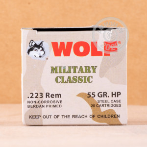 Image of 223 REMINGTON WOLF WPA MILITARY CLASSIC 55 GRAIN HP (20 ROUNDS)