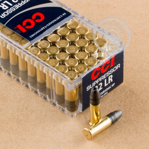 Photograph of .22 Long Rifle ammo with Lead Hollow Point (LHP) ideal for hunting varmint sized game, training at the range.