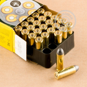 A photograph of 500 rounds of 250 grain .45 COLT ammo with a Lead Round Nose (LRN) bullet for sale.