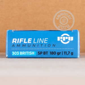 A photograph of 20 rounds of 180 grain 303 British ammo with a soft point bullet for sale.