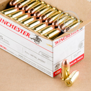 A photograph of 100 rounds of 230 grain .45 Automatic ammo with a FMJ bullet for sale.